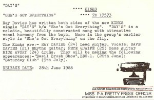 Day's / The Kinks press-release